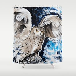 """Owl - Animal - """"I own the night..."""" by LiliFlore Shower Curtain"""