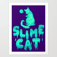 Slime Cat Blue Art Print