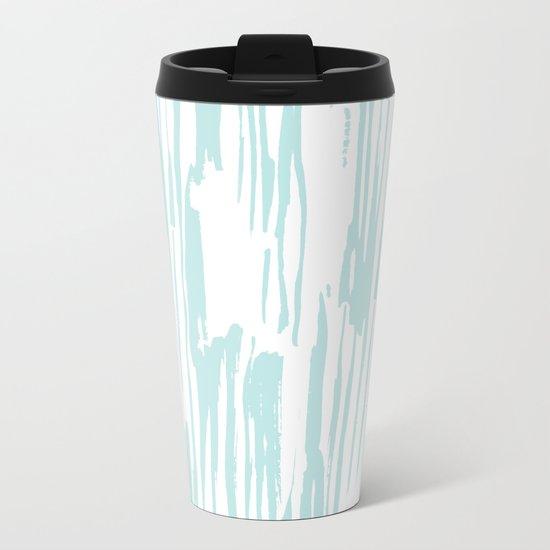 Bamboo Stripe White on Succulent Blue Metal Travel Mug