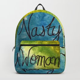 Nasty Woman in blue and green Backpack