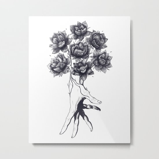 Hand with lotuses Metal Print