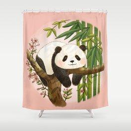 Panda under sunlight - Pink Shower Curtain