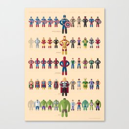 M superheroes evolution Canvas Print