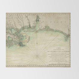 Map of Louisiana and Florida Gulf Coast (1778) Throw Blanket