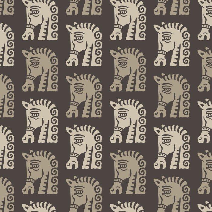 Mid Century Horse Pattern Neutral Duvet Cover