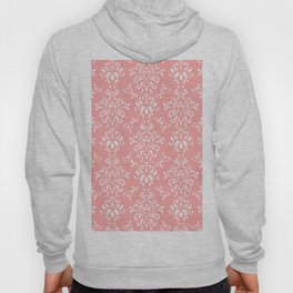 White And Coral Vintage Damask Pattern - Mix & Match with Simplicity of Life Hoody