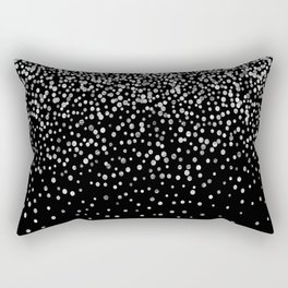 Black & Glam Silver Confetti Rectangular Pillow
