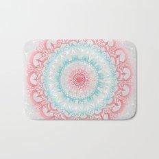 Teal & Coral Glow Medallion Bath Mat