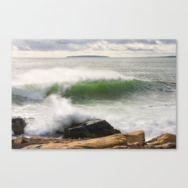 Large Crashing Waves Seascape Acadia National Park Photo Print  Canvas Print