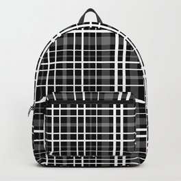 Black and white check . Plaid . Backpack