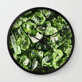 Vibrant greenery crystal rocks Wall Clock