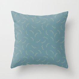Ferns on Blue by Deirdre J Designs Throw Pillow