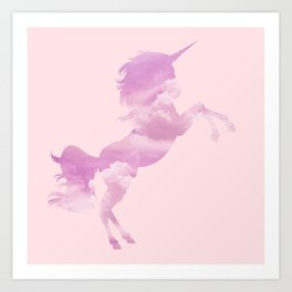 Pink Sky Unicorn Art Print