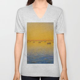 Classical Masterpiece 'Setting Sun and Boats' by Paul Signac Unisex V-Neck