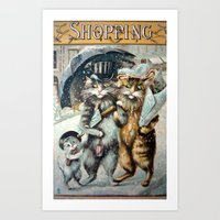 shopping Art Prints featuring Shopping by Frankie Cat