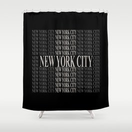 New York City (type in type on black) Shower Curtain
