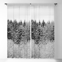 Winter Wanderlust Woods II - Snow Capped Forest Nature Photography Blackout Curtain