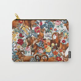 Capra Cylindricornis and Floral Pattern Carry-All Pouch