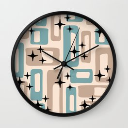 Retro Mid Century Modern Abstract Pattern 227 Blue and Beige Wall Clock