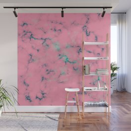 Cotton Candy Pink & Mint Marble Wall Mural