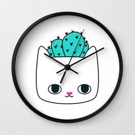 Cactus Kitty Planter Wall Clock