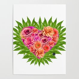 i Heart Pot Leaves Bouquet Poster