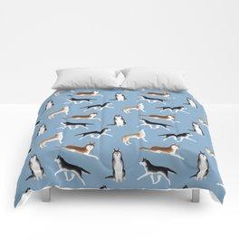 Husky Pattern (Blue Gray Background) Comforters