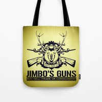 guns Tote Bags featuring Jimbo's Guns by Silvio Ledbetter