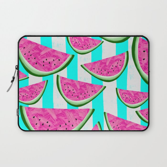Watermelon Crush on Aqua and White Stripes Laptop Sleeve