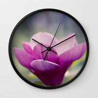 magnolia Wall Clocks featuring magnolia by Sharon Mau