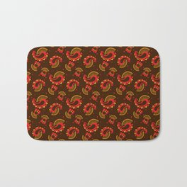 Red and Gold Peacock Paisley Pattern Bath Mat