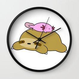 Axolotl and Sloth Wall Clock