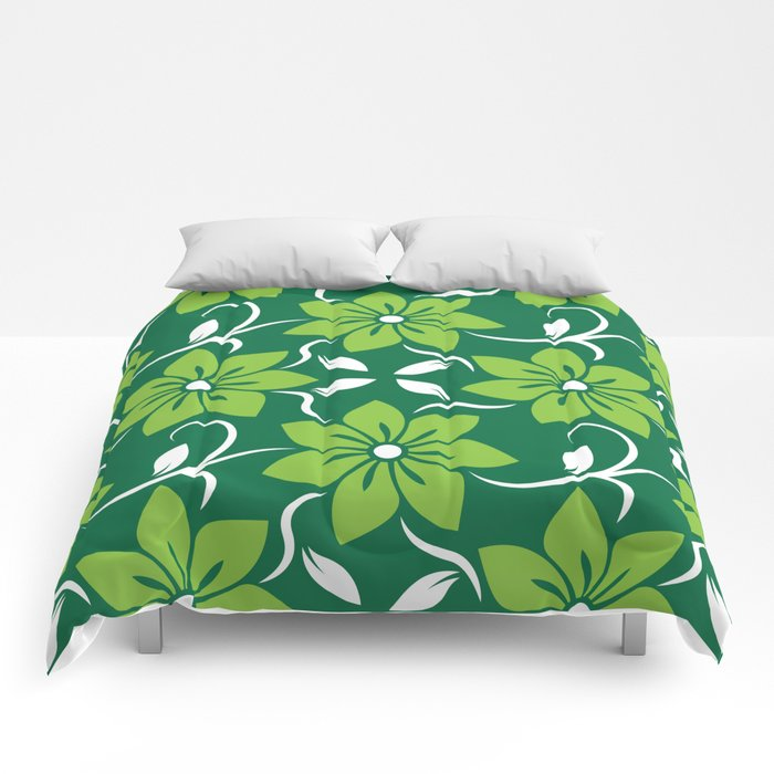 Green Spring Flower Pattern Comforters