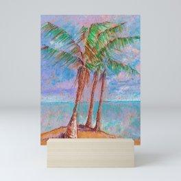 Tropical beach art with palm trees and sea Mini Art Print