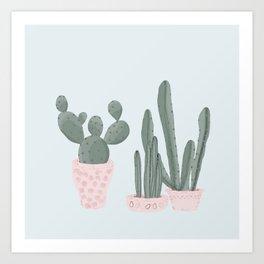 Soft Pastel Cacti Design Art Print