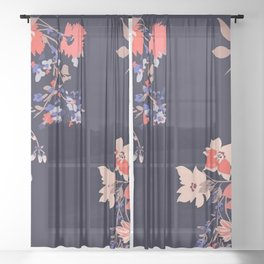 Colorful Night Roses Sheer Curtain