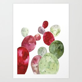 Watercolor cactus bunch in red and green Art Print