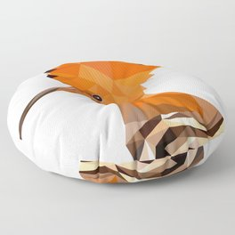 Bird artwork hoopoe geometric, Orange and brown Floor Pillow