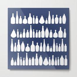 Bottles Navy Metal Print