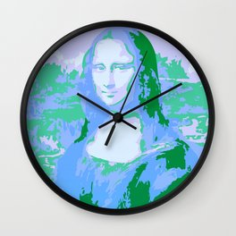 Monna Lisa in Blue/Green Wall Clock