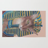 egyptian Area & Throw Rugs featuring Egyptian Cat by Rachel Waterman