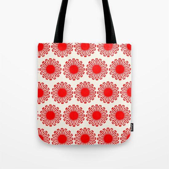 vintage flowers red Tote Bag