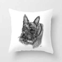Scottish Terrier Drawing Throw Pillow