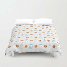 Milk and Cookies Pattern on Cream Duvet Cover