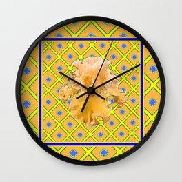 Peachy German Iris Blue & Yellow Art Wall Clock