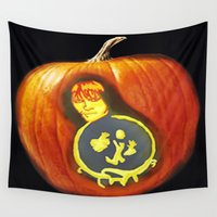 labyrinth Wall Tapestries featuring labyrinth  pumpkin carving  by grapeloverarts