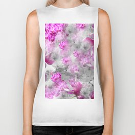 CHERRY BLOSSOMS ORCHIDS AND MAGNOLIA IMPRESSIONS IN PINK GRAY AND WHITE Biker Tank