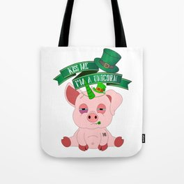St Patrick's Day Kiss Me I'm A Unicorn Pig Tote Bag
