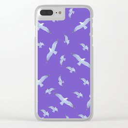 purple seagull day flight Clear iPhone Case