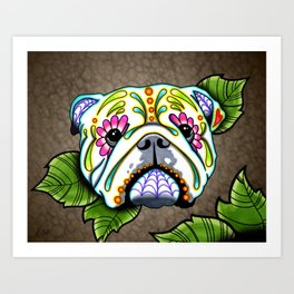 English Bulldog - Day of the Dead Sugar Skull Dog Art Print